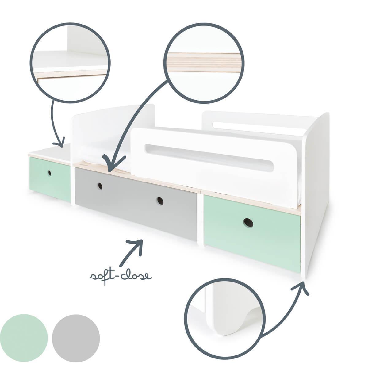 Juniorbett mitwachsend 90x150/200cm COLORFLEX mint-pearl grey-mint