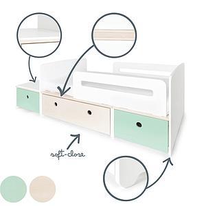 Juniorbett mitwachsend 90x150/200cm COLORFLEX mint-white wash-mint