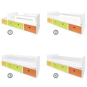 Juniorbett mitwachsend 90x150/200cm COLORFLEX nectar yellow-lime-pure orange