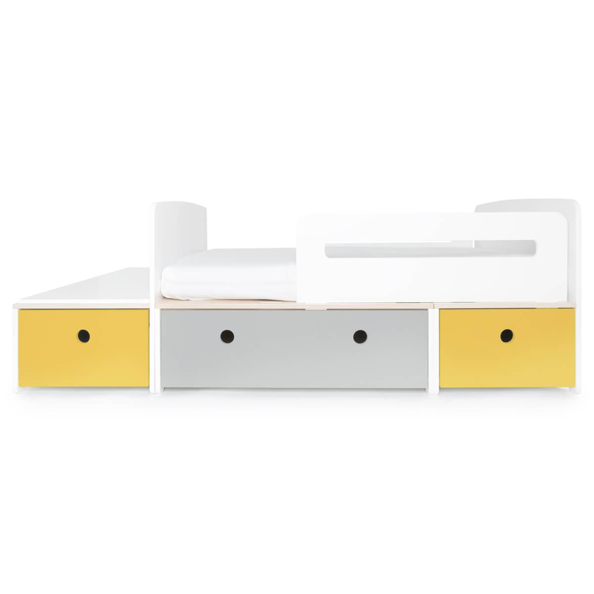 Juniorbett mitwachsend 90x150/200cm COLORFLEX nectar yellow-pearl grey-nectar yellow