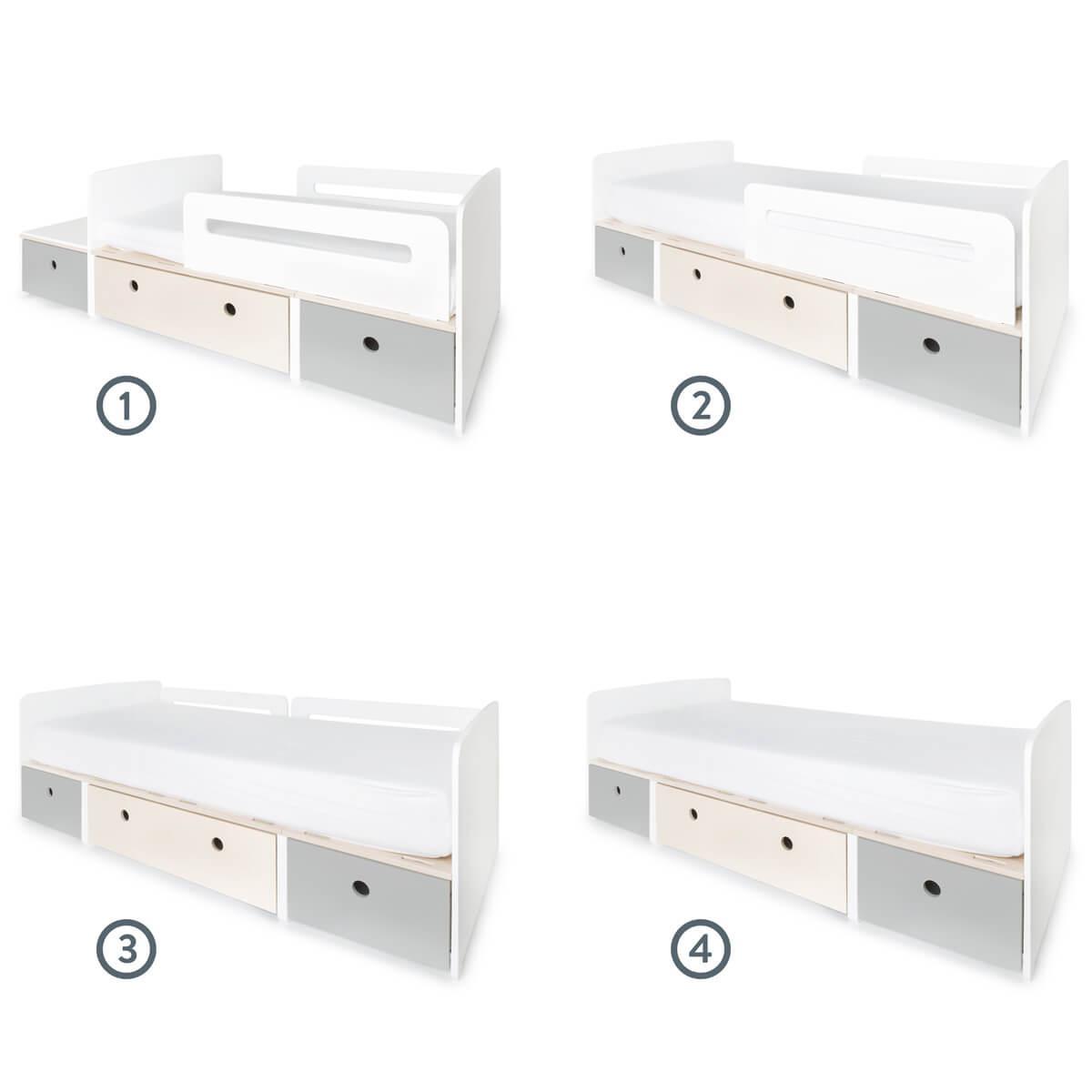 Juniorbett mitwachsend 90x150/200cm COLORFLEX pearl grey-white wash-pearl grey