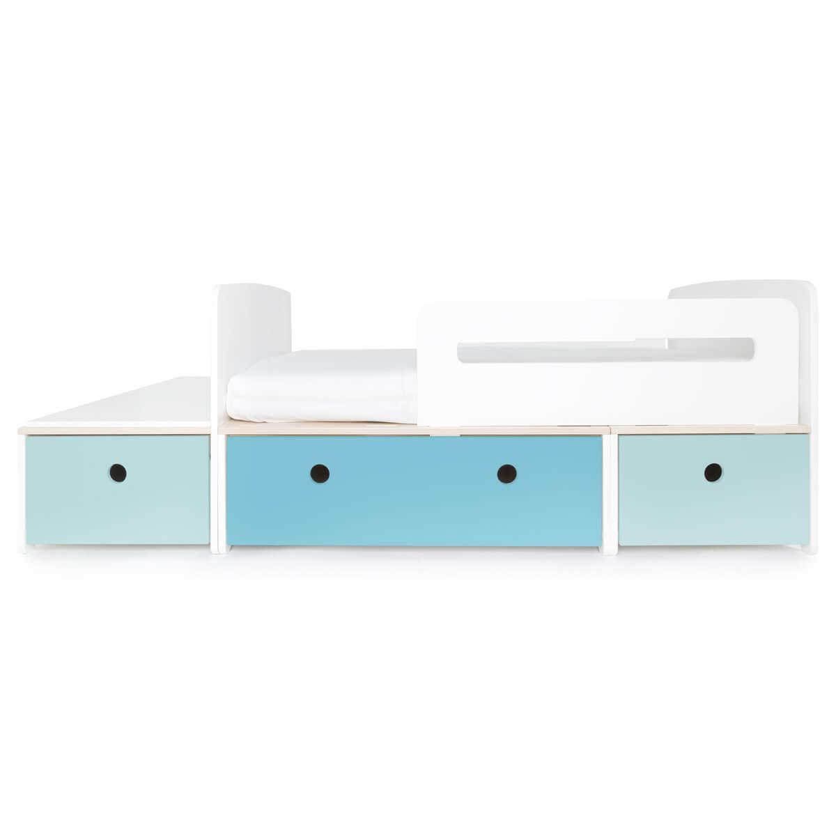 Juniorbett mitwachsend 90x150/200cm COLORFLEX sky blue-paradise blue-sky blue