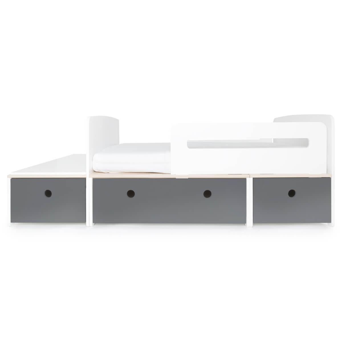 Juniorbett mitwachsend 90x150/200cm COLORFLEX space grey