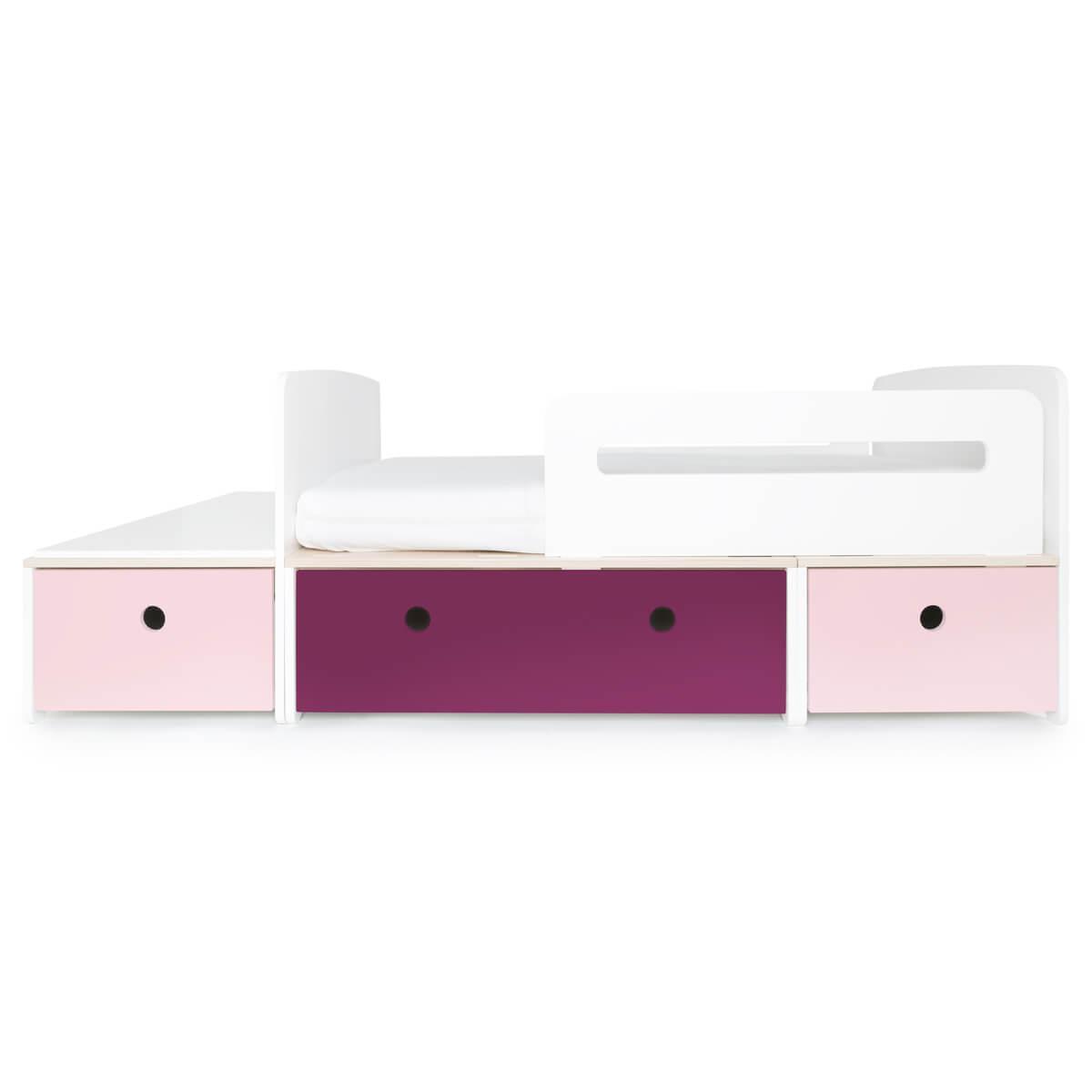 Juniorbett mitwachsend 90x150/200cm COLORFLEX sweet pink-plum-sweet pink