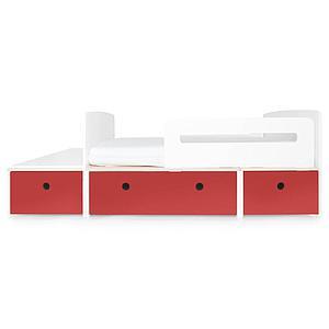 Juniorbett mitwachsend 90x150/200cm COLORFLEX true red