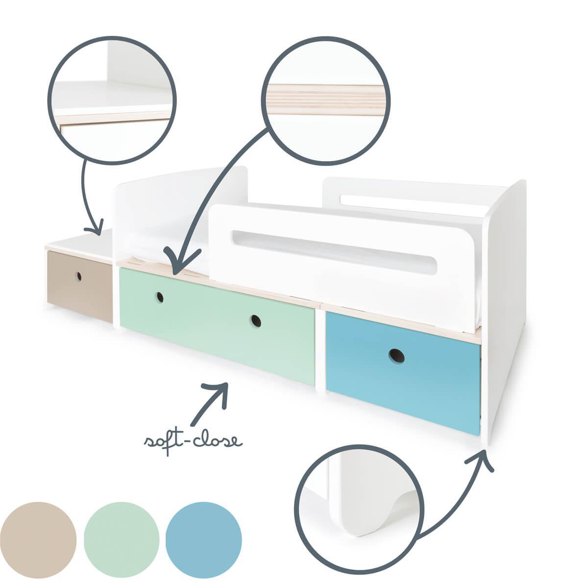 Juniorbett mitwachsend 90x150/200cm COLORFLEX warm grey-mint-paradise blue
