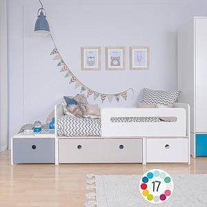 Juniorbett mitwachsend 90x150/200cm COLORFLEX warm grey-paradise blue-sky blue