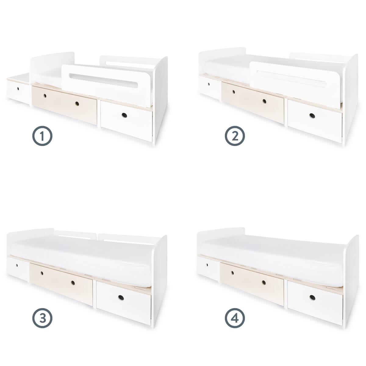 Juniorbett mitwachsend 90x150/200cm COLORFLEX white-white wash-white