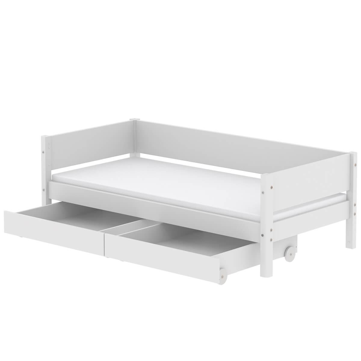 Kinderbett 90x190cm 2 Schubladen WHITE Flexa weiß