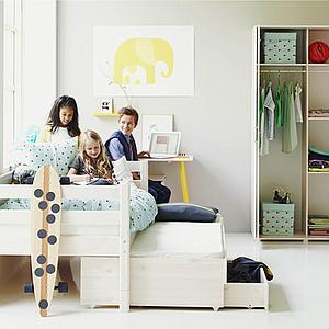 Kinderbett 90x190cm Ausziehbett-2 Schubladen WHITE Flexa weiß
