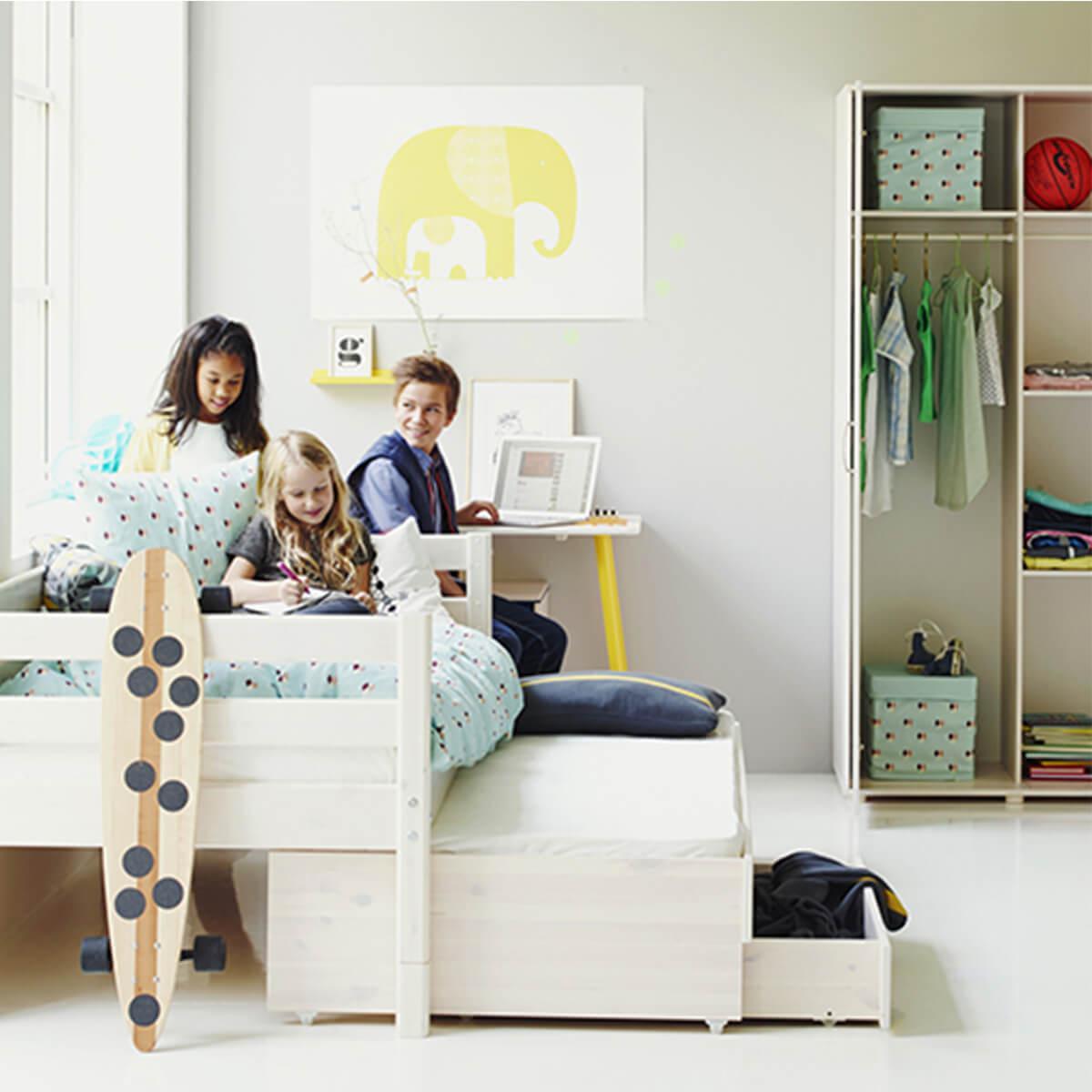 Kinderbett 90x200cm Ausziehbett-2 Schubladen WHITE Flexa weiß
