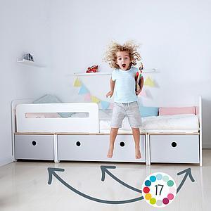 Kinderbett 90x200cm COLORFLEX Abitare Kids white-white wash-white