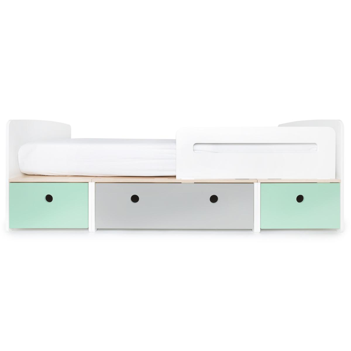 Kinderbett 90x200cm COLORFLEX mint-pearl grey-mint