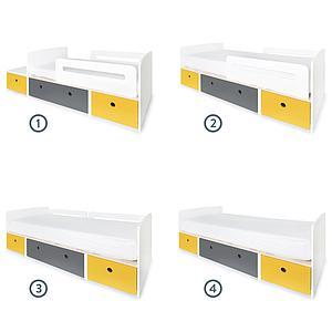 Kinderbett 90x200cm COLORFLEX nectar yellow-space grey-nectar yellow