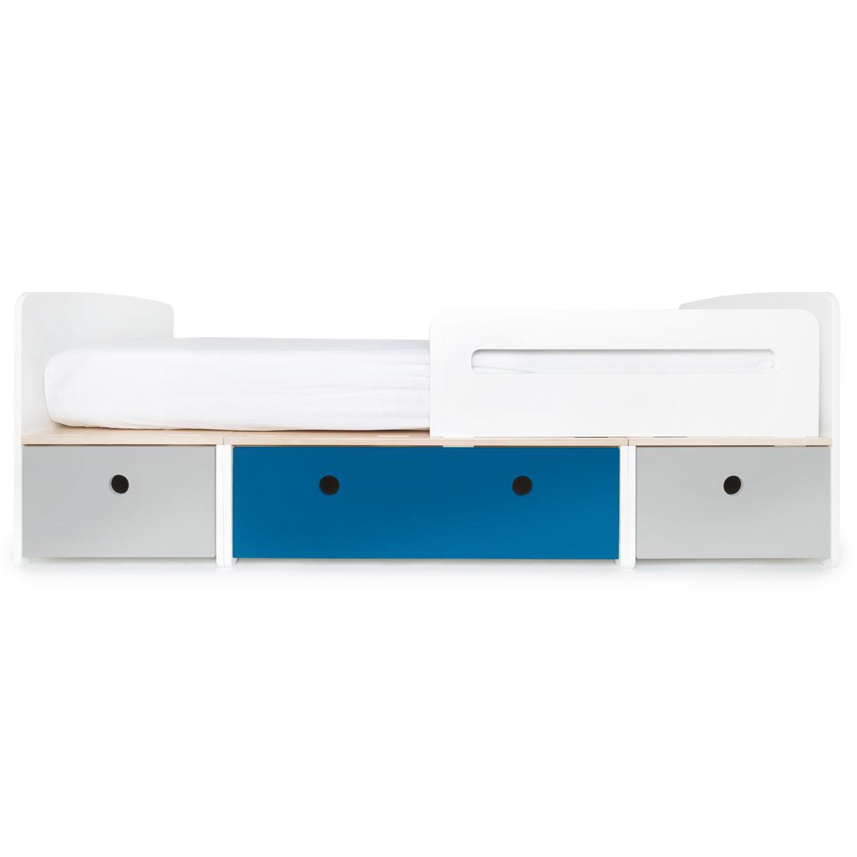 Kinderbett 90x200cm COLORFLEX pearl grey-deep marine-pearl grey