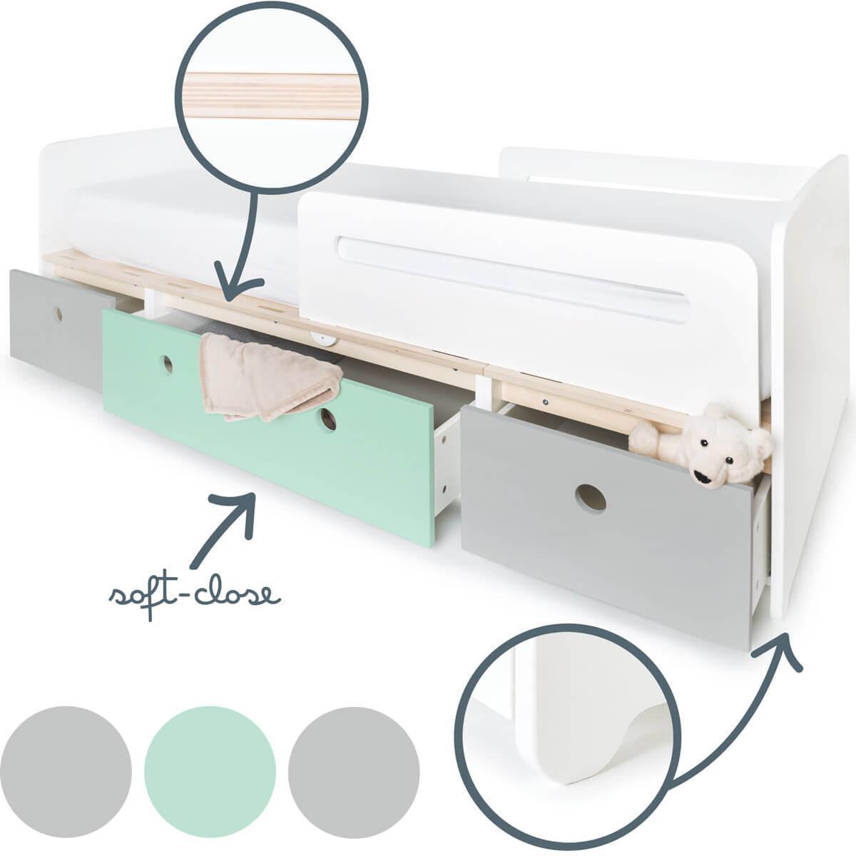 Kinderbett 90x200cm COLORFLEX pearl grey-mint-pearl grey