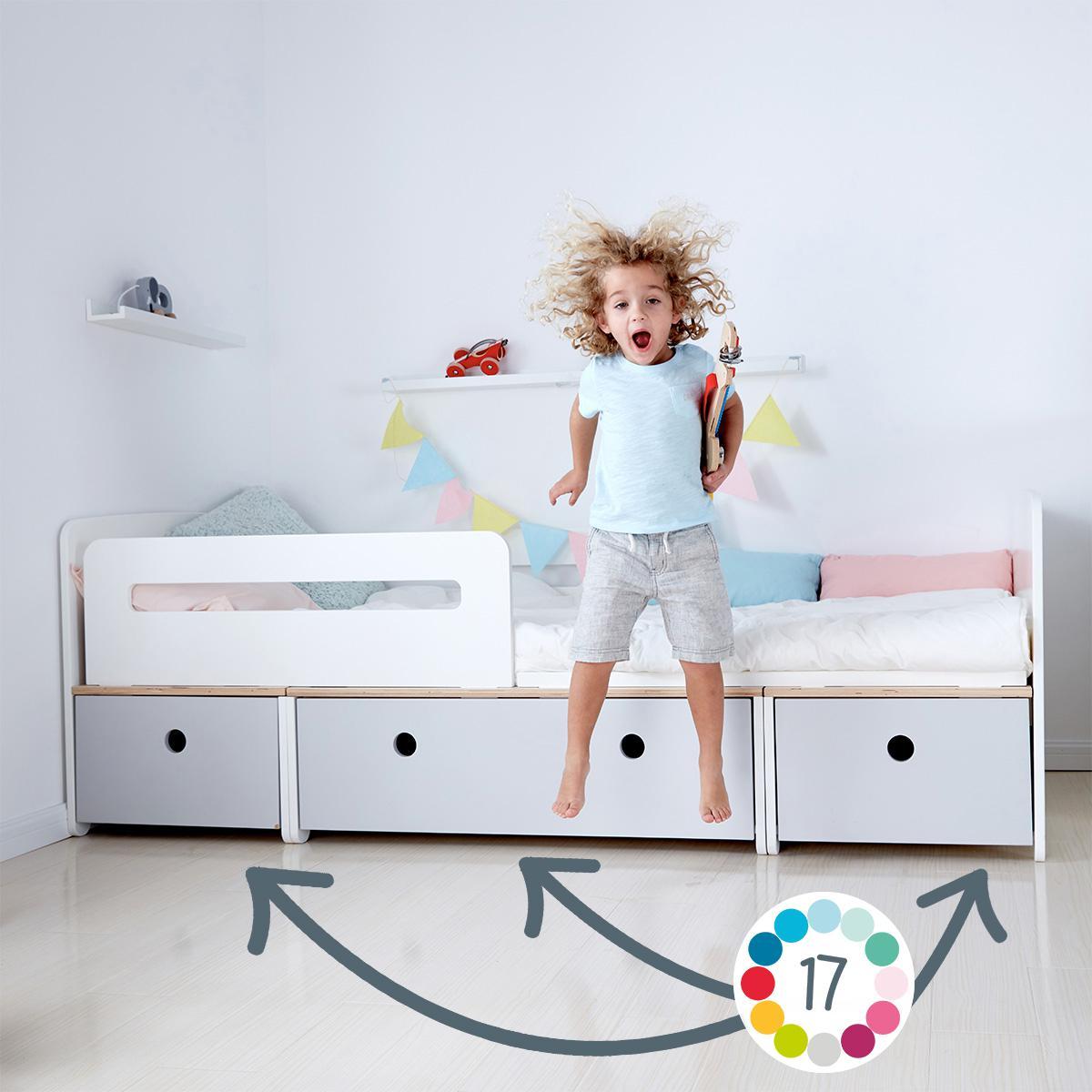 Kinderbett 90x200cm COLORFLEX pearl grey-white wash-pearl grey