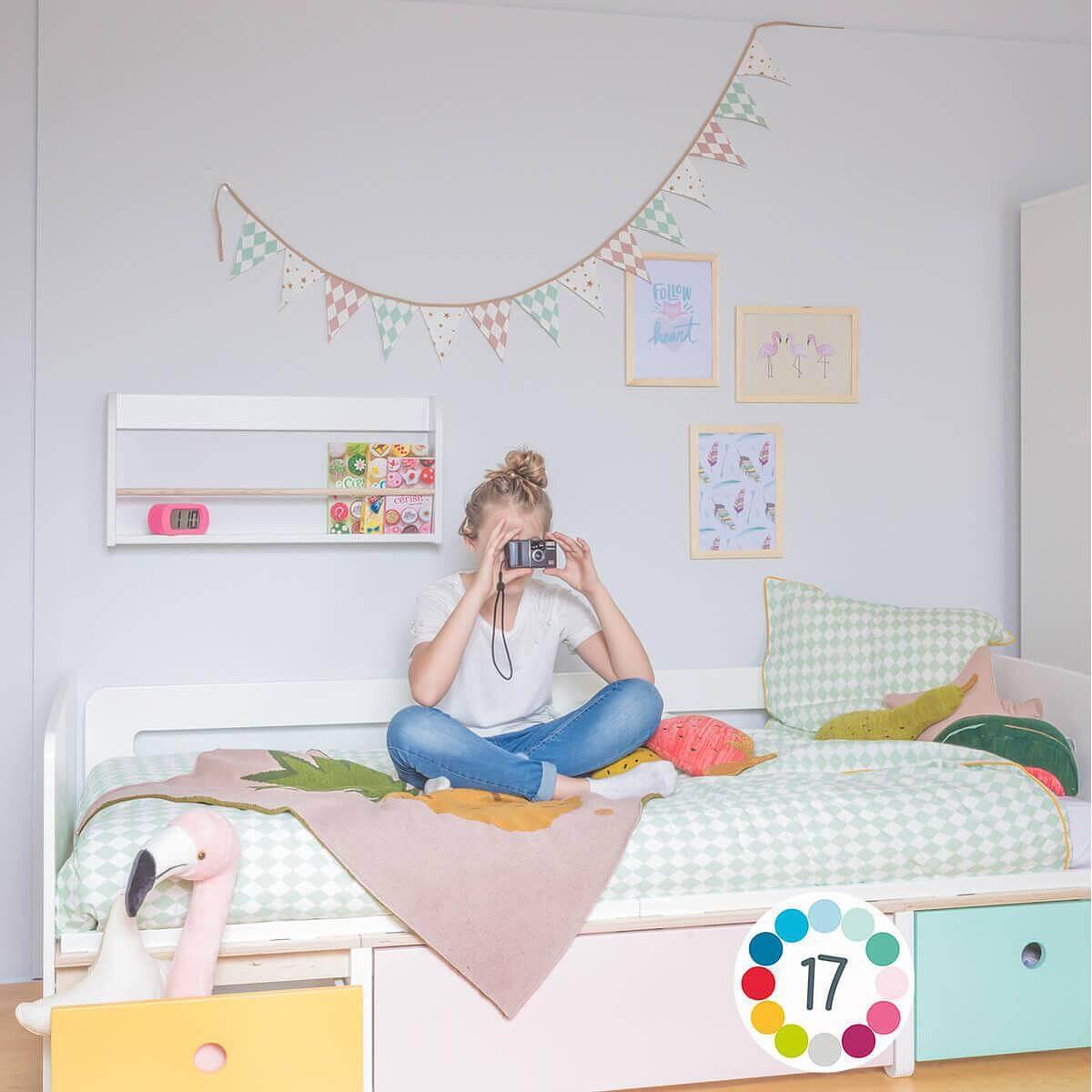 Kinderbett 90x200cm COLORFLEX sweet pink-mint-sweet pink
