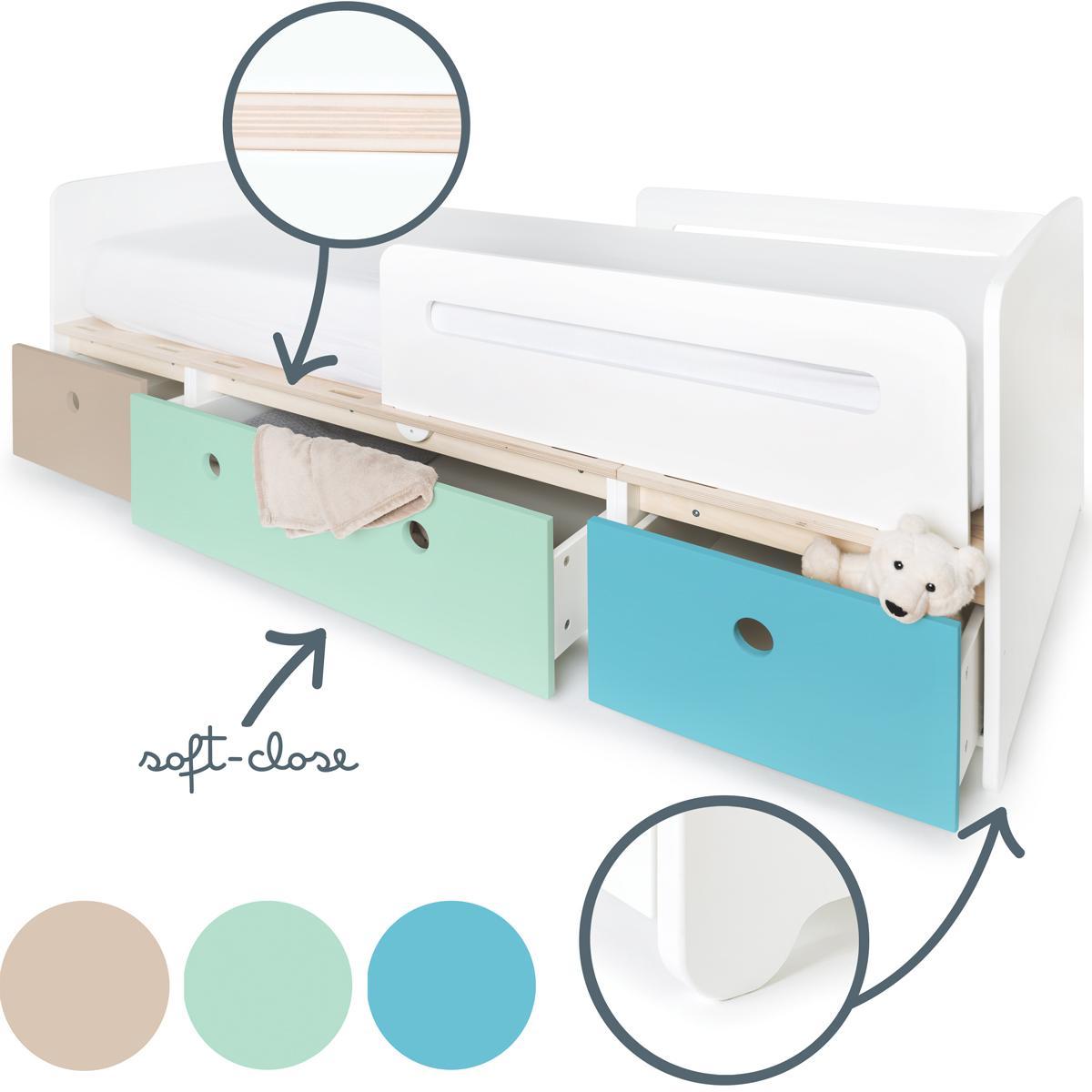 Kinderbett 90x200cm COLORFLEX warm grey-mint-paradise blue
