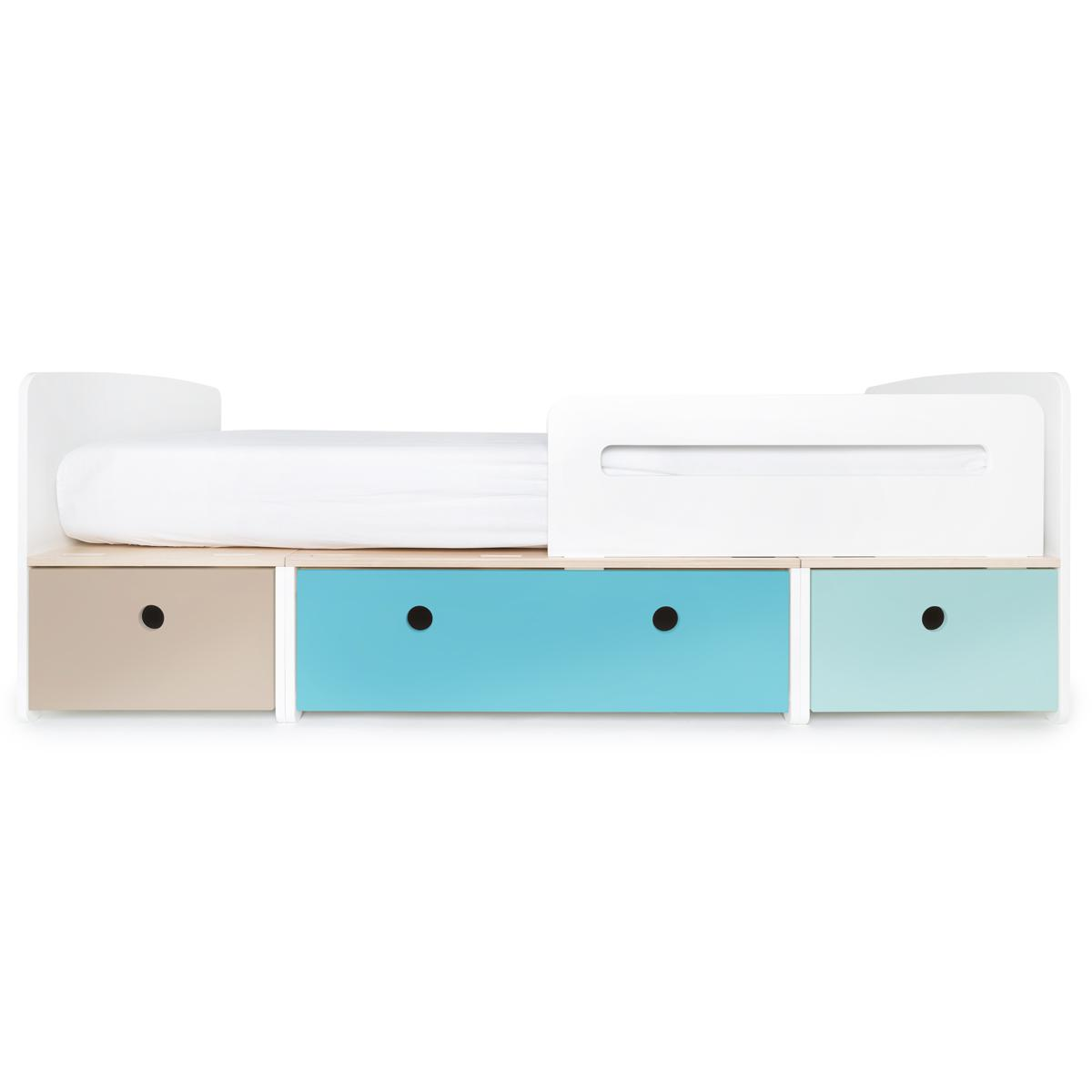 Kinderbett 90x200cm COLORFLEX warm grey-paradise blue-sky blue