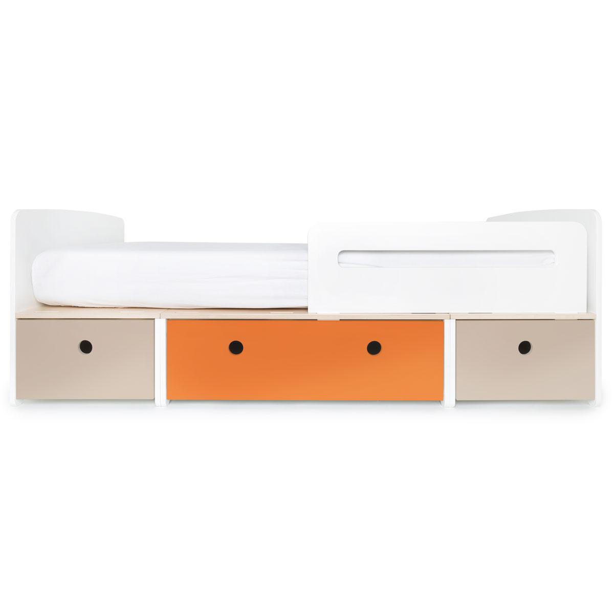Kinderbett 90x200cm COLORFLEX warm grey-pure orange-warm grey