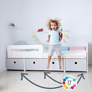 Kinderbett 90x200cm COLORFLEX warm grey-space grey-warm grey