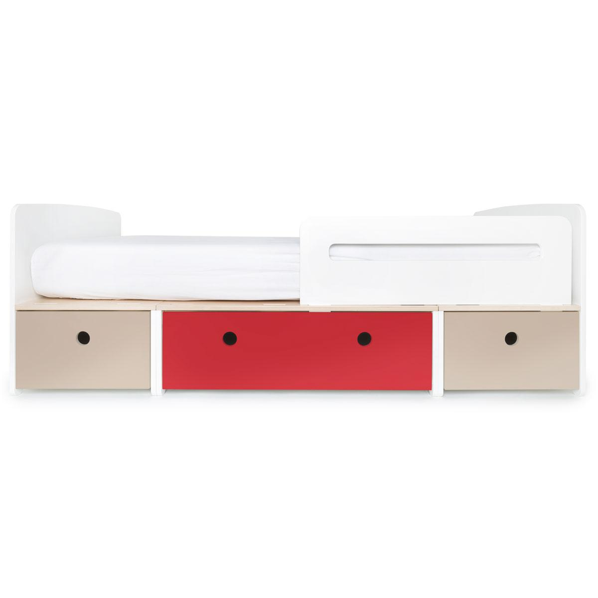 Kinderbett 90x200cm COLORFLEX warm grey-true red-warm grey