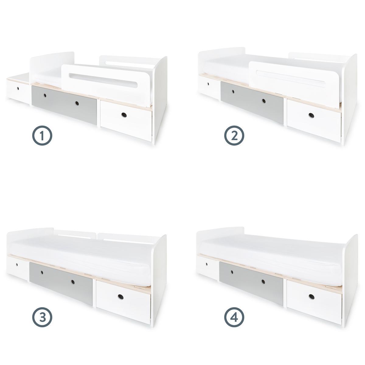 Kinderbett 90x200cm COLORFLEX white-pearl grey-white