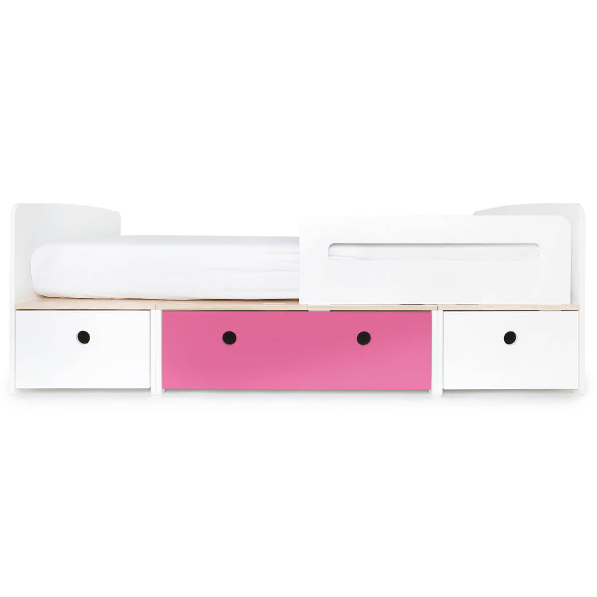 Kinderbett 90x200cm COLORFLEX white-pink-white