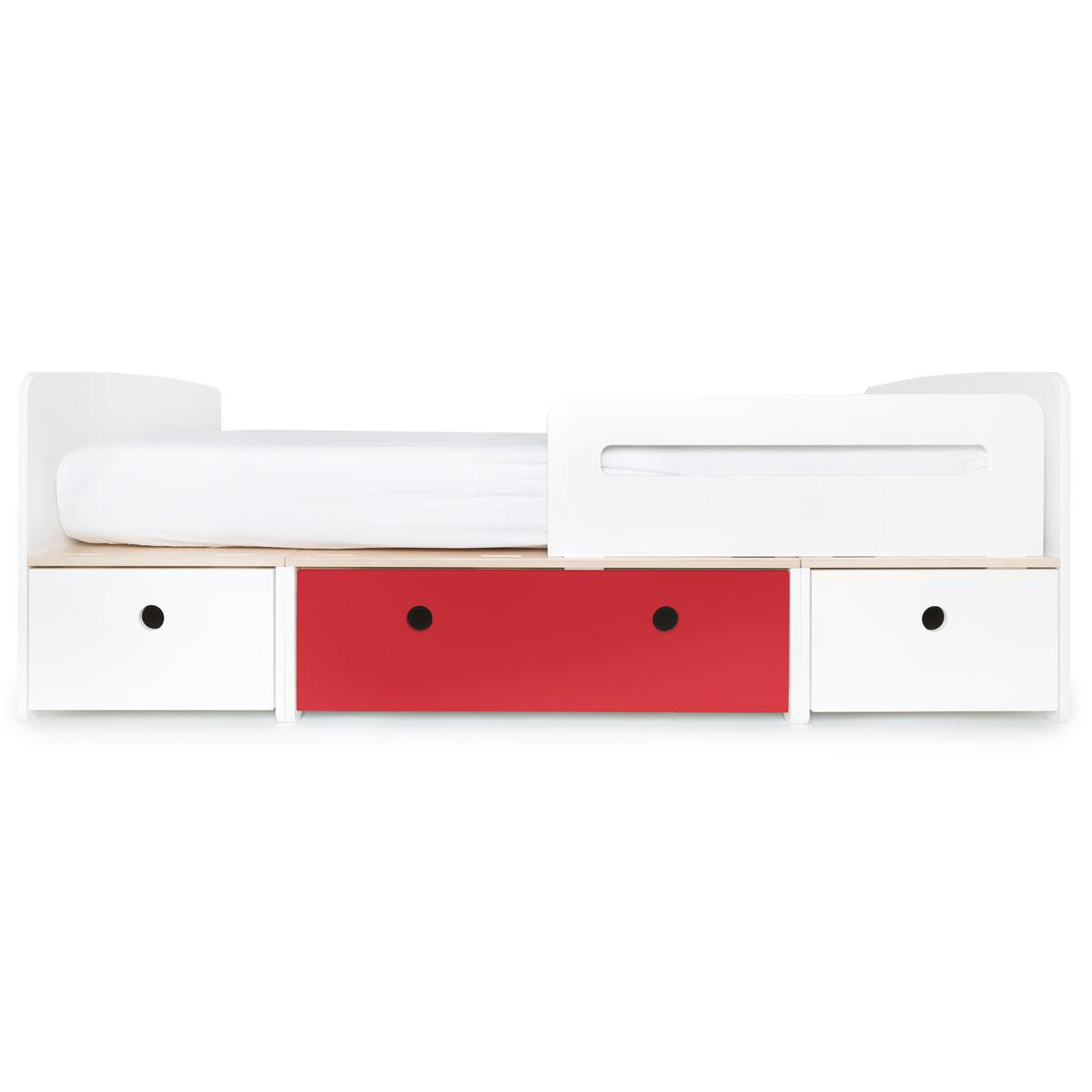 Kinderbett 90x200cm COLORFLEX white-true red-white