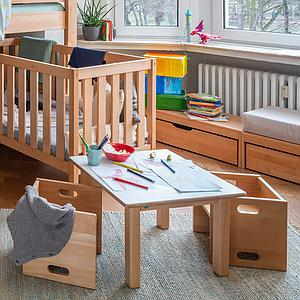 Kindertisch 60x90 - H 40/50 DECOR Debreuyn - Birke Multiplex weiß HPL beschichtet