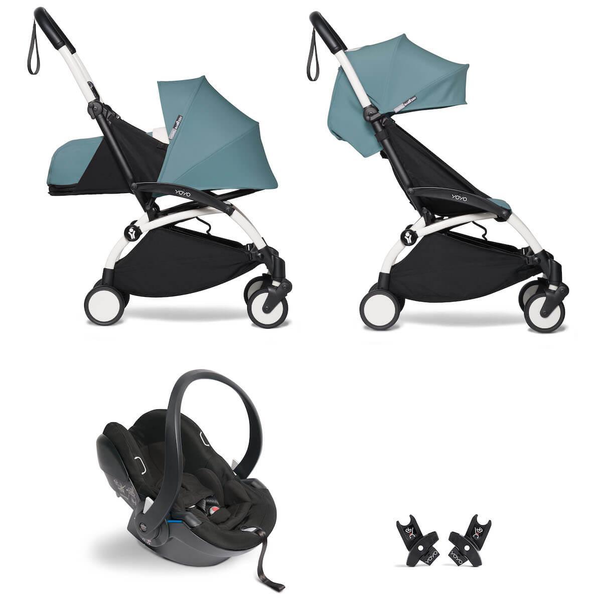 Kinderwagen BABYZEN YOYO² all-in-one 0+/6+ und Autositz weiß-aqua