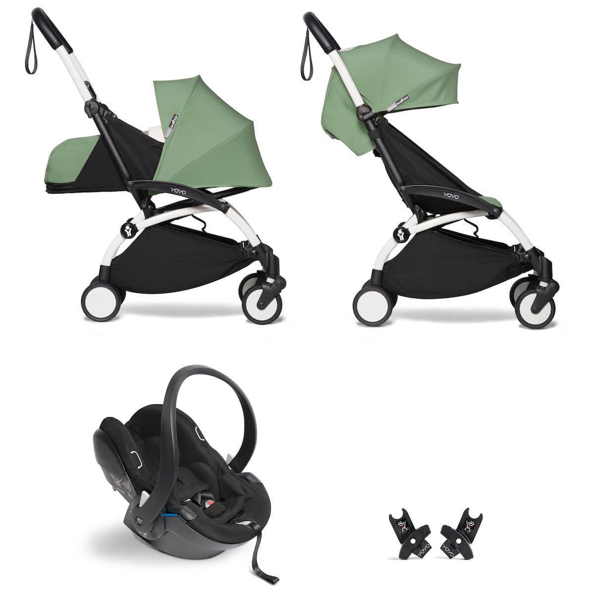 Kinderwagen BABYZEN YOYO² all-in-one 0+/6+ und Autositz weiß-peppermint
