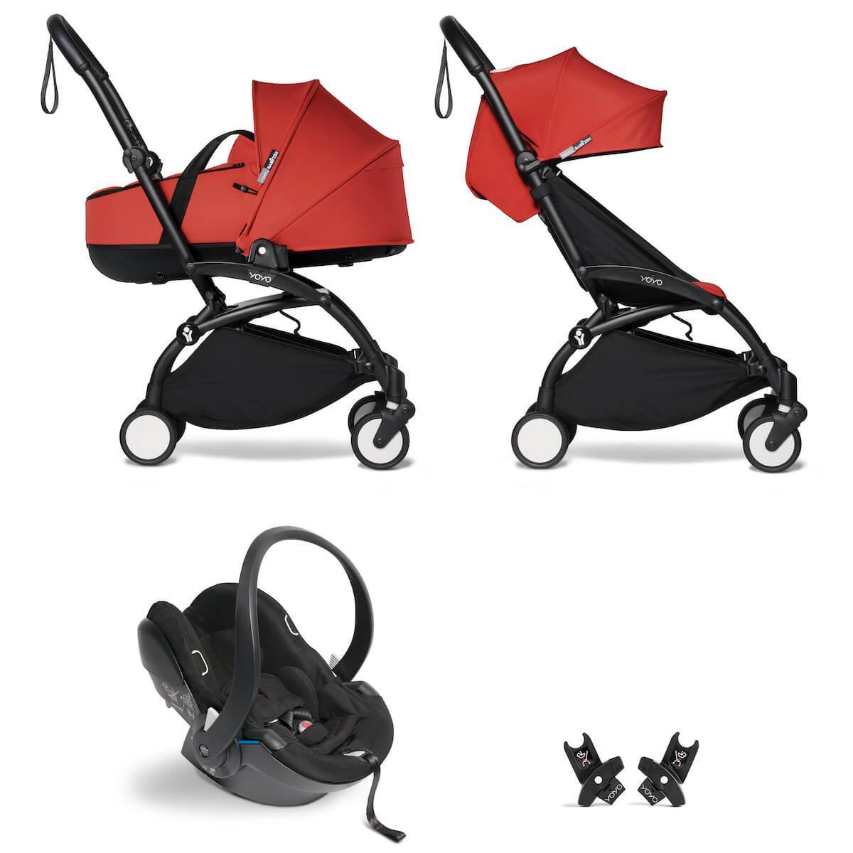 Kinderwagen BABYZEN YOYO²  all-in-one Wanne/Autositz/6+ schwartz-rot