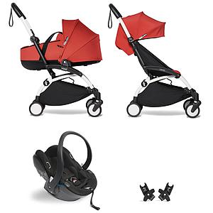 Kinderwagen BABYZEN YOYO²  all-in-one Wanne/Autositz/6+ weiß-rot