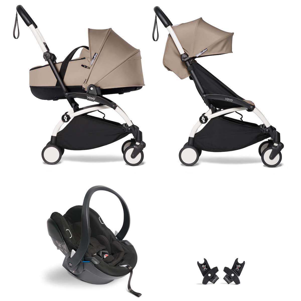 Kinderwagen BABYZEN YOYO²  all-in-one Wanne/Autositz/6+ weiß-taupe