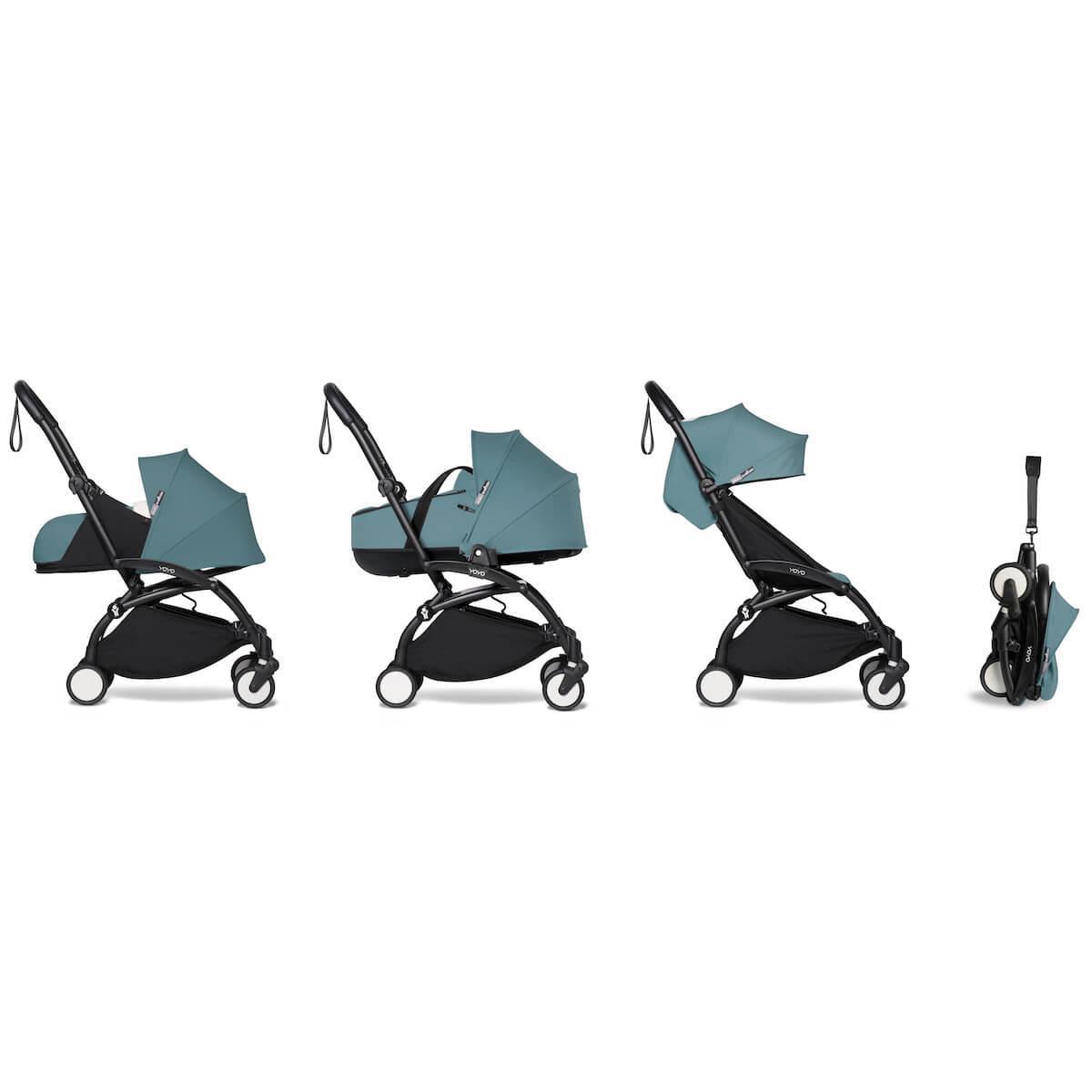 Kinderwagen BABYZEN YOYO² komplett 0+/6+ und Wanne schwarz-aqua