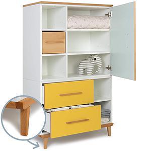 Kleiderschank 147cm 1-türig 2 Schubladen NADO mint-sunshine yellow