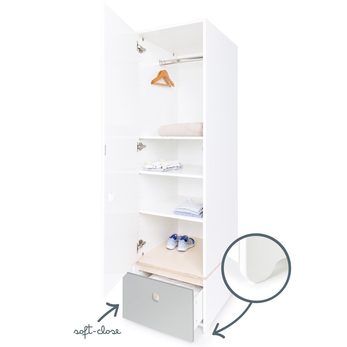 Kleiderschrank 1-türig COLORFLEX Schublade pearl grey