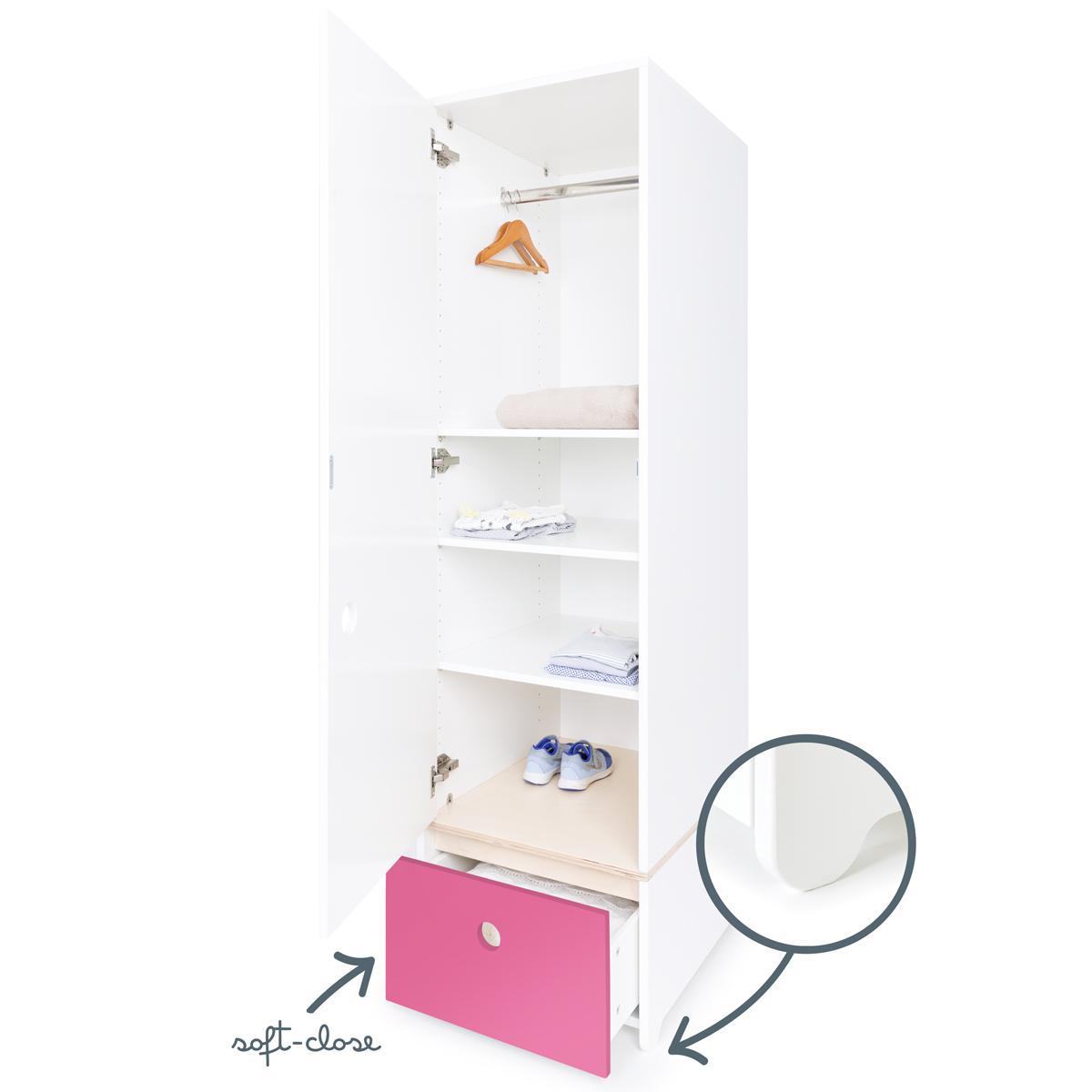Kleiderschrank 1-türig COLORFLEX Schublade pink