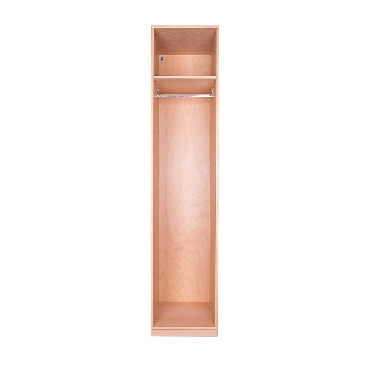 Kleiderschrank 1-türig hoch 219x48x60cm ohne Türen DESTYLE de Breuyn Buchenfurnierte Spanplatte natur geölt