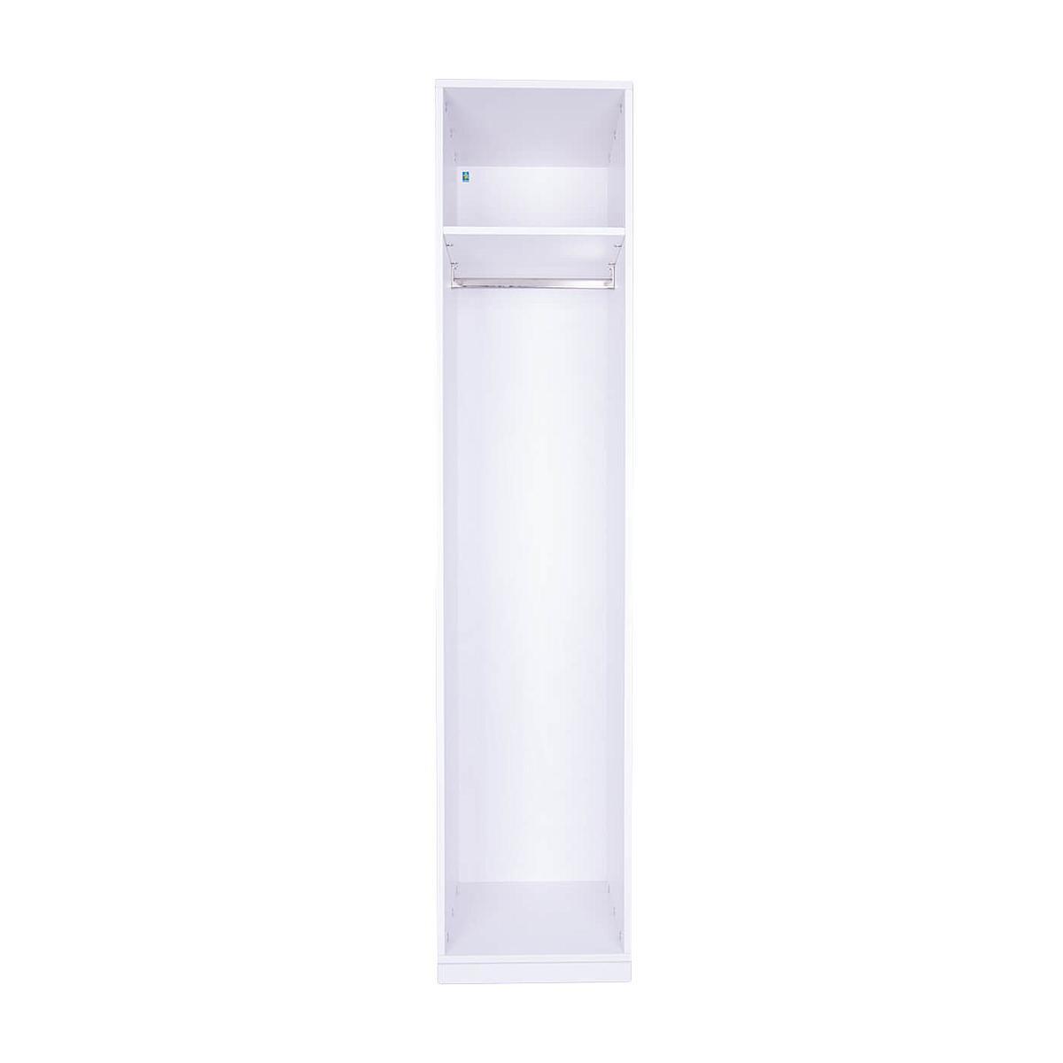 Kleiderschrank 1-türig hoch 219x48x60cm ohne Türen DESTYLE de Breuyn Buchenfurnierte Spanplatte weiß gebeizt-lackiert