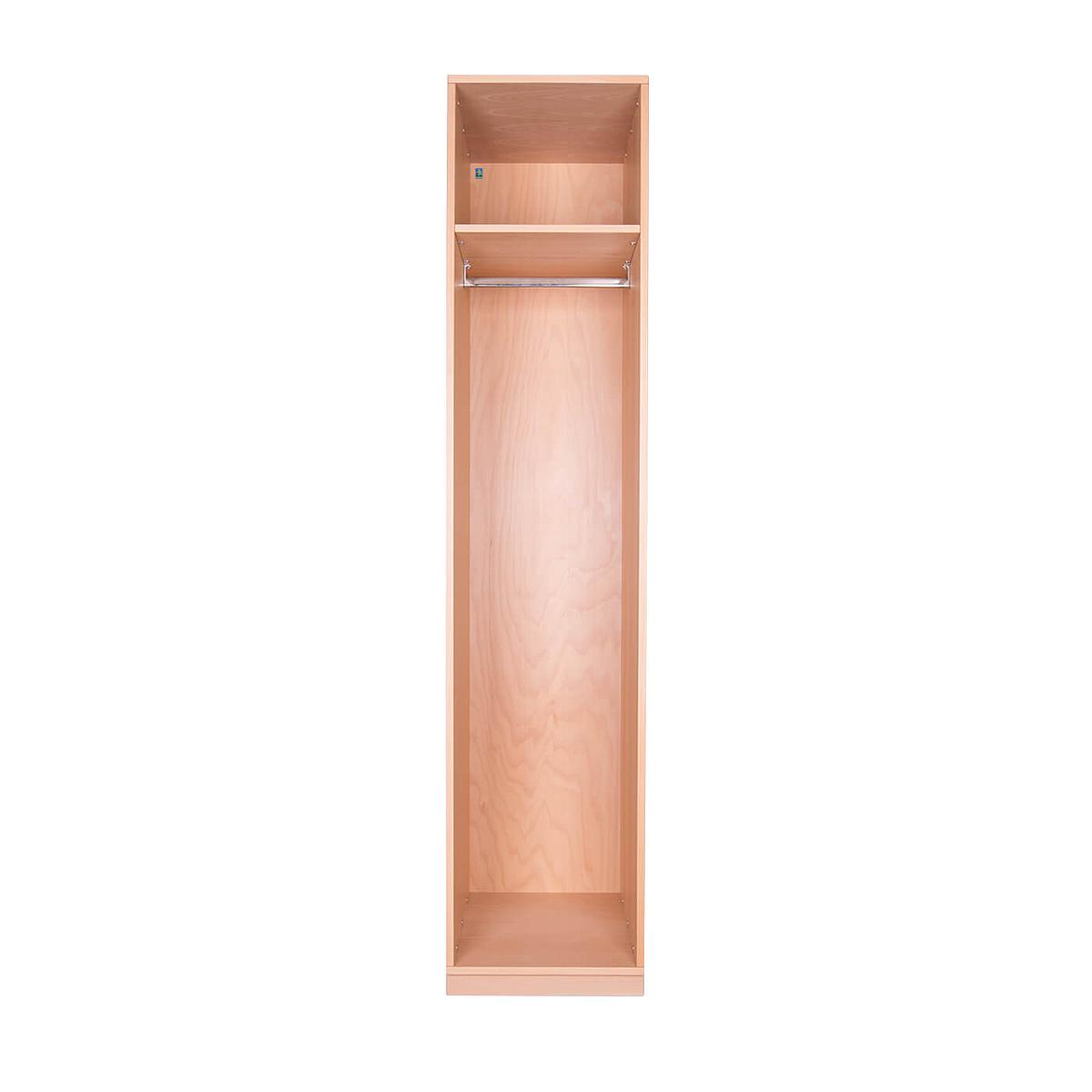 Kleiderschrank 1-türig hoch 219x48x60cm ohne Türen DESTYLE Debreuyn Buchenfurnierte Spanplatte natur geölt