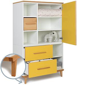Kleiderschrank 147cm 1-türig 2 Schubladen NADO sunshine yellow