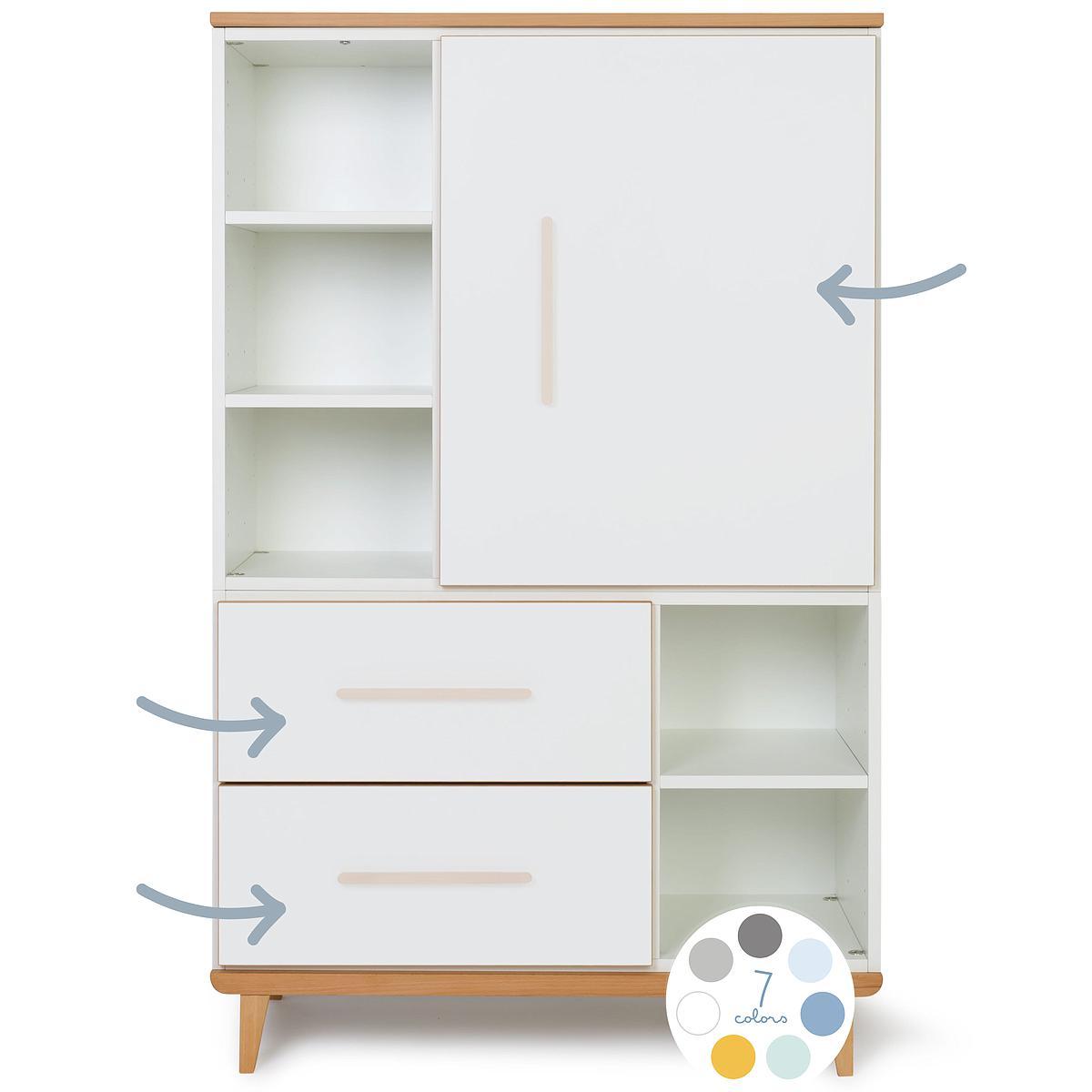 Kleiderschrank 147cm 1-türig 2 Schubladen ohne frontschubladen-tür NADO