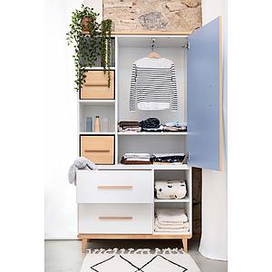 Kleiderschrank 173cm 1-türig 2 Schubladen NADO capri blue