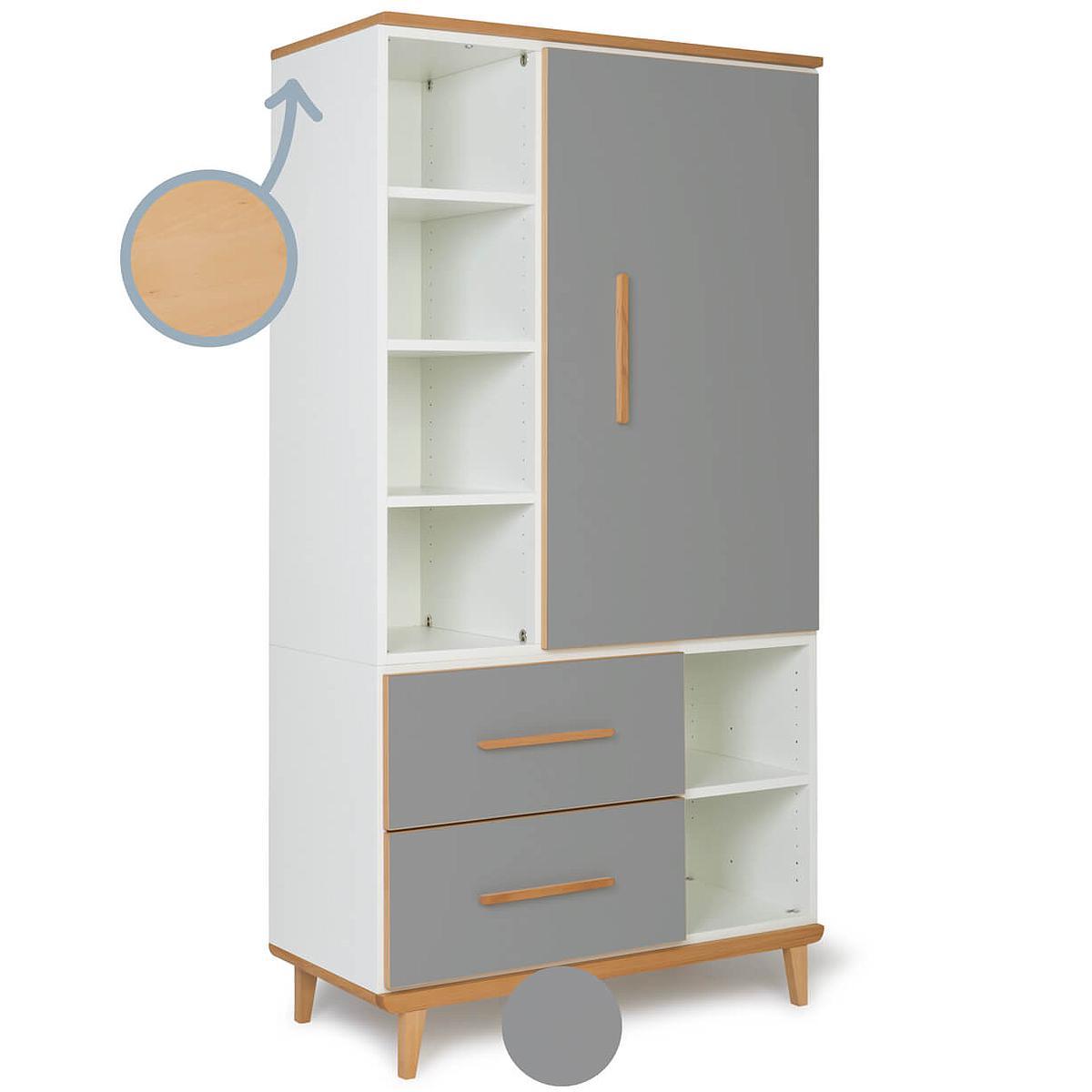 Kleiderschrank 173cm 1-türig 2 Schubladen NADO slate grey