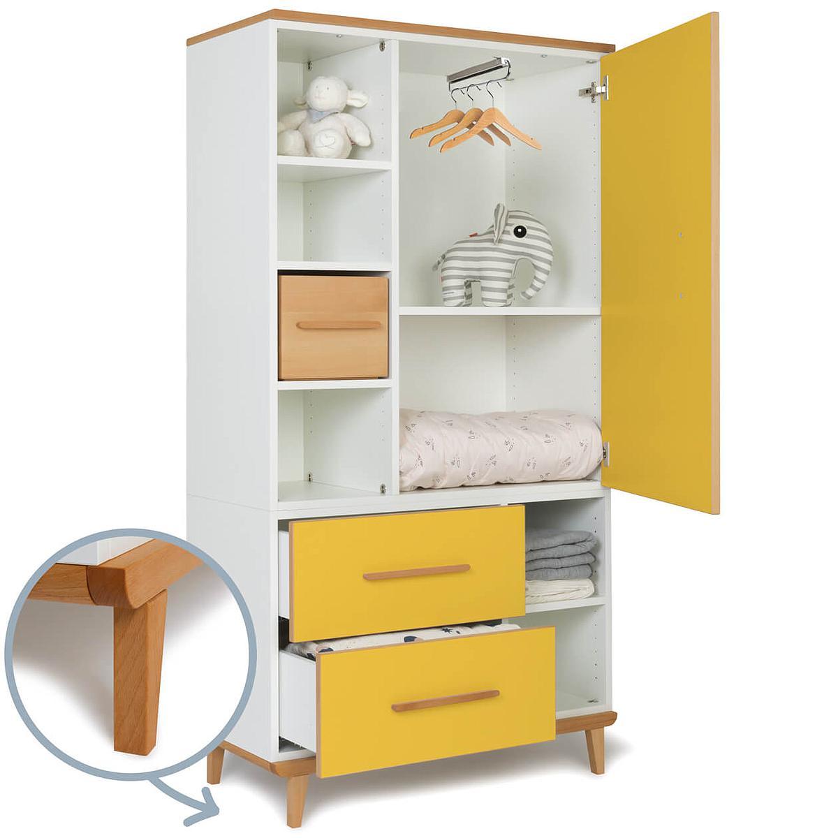 Kleiderschrank 173cm 1-türig 2 Schubladen NADO sunshine yellow