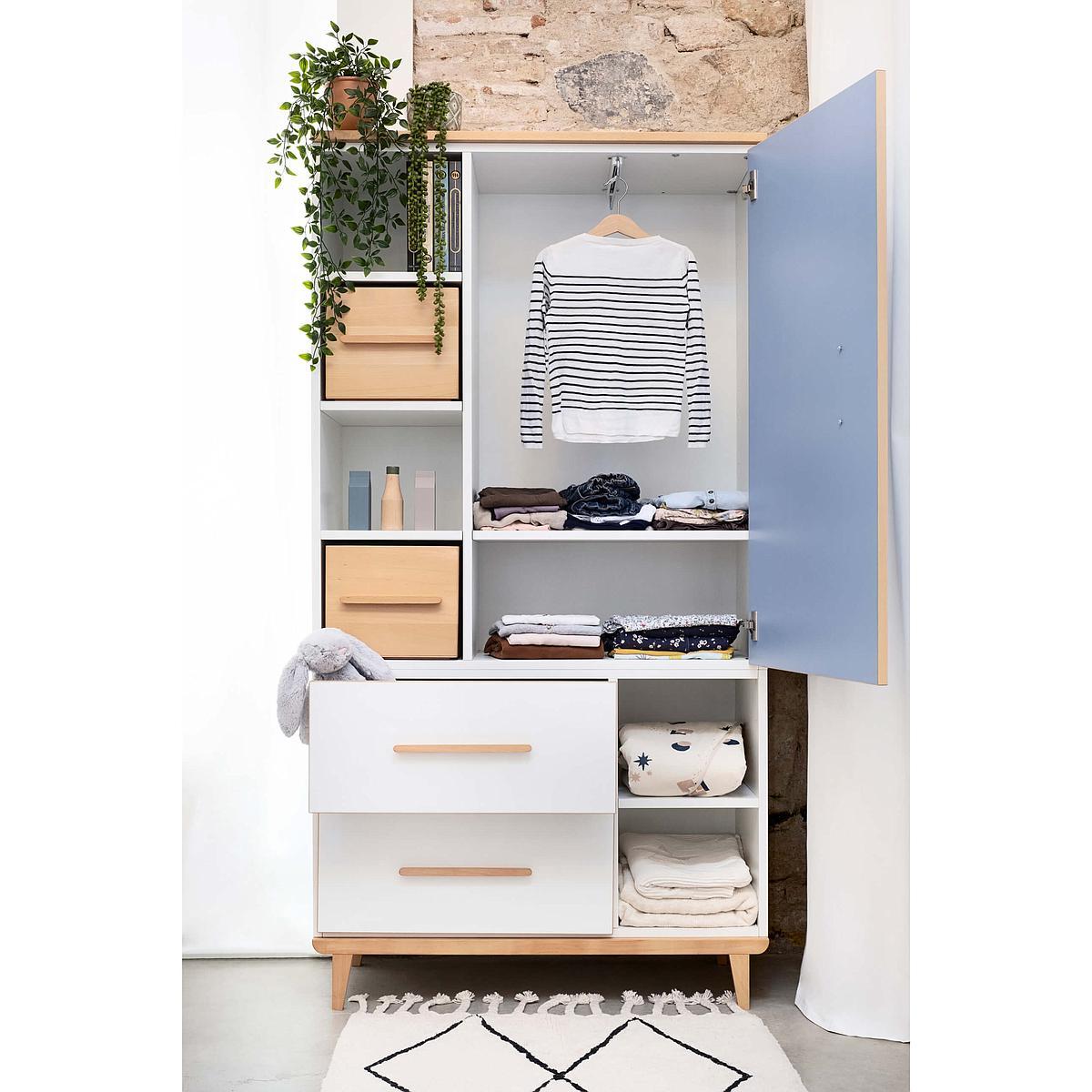 Kleiderschrank 173cm 1-türig 2 Schubladen NADO white