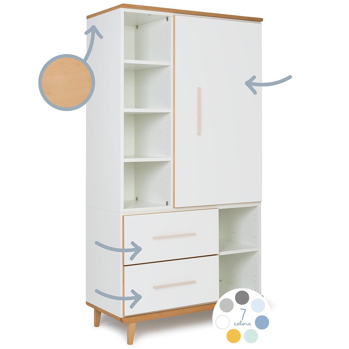 Kleiderschrank 173cm 1-türig 2 Schubladen ohne frontschubladen-tür NADO By A.K.